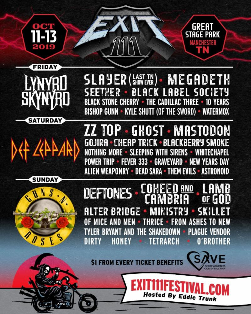 """The inaugural EXIT 111 Festival just announced their heavyweight line-up that will celebrate all forms of rock - from hard to classic, alternative to southern - when it debuts October 11-13 at the Great Stage Park in Manchester, TN. The inaugural three-day event hosted by Eddie Trunk will be led by headlining slots from Guns N' Roses, Def Leppard, Lynyrd Skynyrd , and a mix of platinum-selling artists including Slayer (in the last Tennessee show of their career), ZZ Top , Deftones , Ghost , Megadeth and more than 40 acts (full line-up below). Tickets for EXIT 111 go on sale Thursday, April 25 at 12:00 PM (ET), with additional ticketing info below.  Independent metal phenoms TETRARCH are thrilled to announce that they are officially scheduled to perform at EXIT 111 on Sunday, October 13, along with Guns N' Roses , Deftones , Coheed and Cambria , Lamb of God and many other massive artists.  Lead guitarist Diamond Rowe says, """"We are so excited to be performing on the first ever   Exit 111 Festival   . Not only is the lineup stacked, but it's a great variety of rock and metal bands that you would never see together in a typical setting! We grew up jamming to   Guns N' Roses   ,   Deftones   ,   Lamb of God   , etc. so it's an honor to be on the same bill with all of those bands. Everyone that comes is definitely in for a treat.""""   The full EXIT 111 line-up as of today is as follows: Guns N' Roses, Def Leppard, Lynyrd Skynyrd, Slayer, ZZ Top, Deftones, Ghost, Megadeth, Coheed & Cambria, Lamb of God, Mastodon, Seether, Alter Bridge, Gojira, Cheap Trick, Blackberry Smoke, Black Label Society, Ministry, Skillet, Nothing More, Sleeping With Sirens, Of Mice and Men, Thrice, Whitechapel, Power Trip, Black Stone Cherry, Fever 333, Graveyard, The Cadillac Three, 10 Years, From Ashes to New, Tyler Bryant and the Shakedown, New Years Day, Alien Weaponry, Bishop Gunn, Dead Sara, Plague Vendor, Dirty Honey, TETRARCH, Watermox, Kyle Shutt , and O'Brother .   EXIT 111 weekend passes a"""