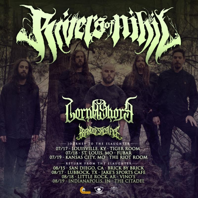 "This summer,  RIVERS OF NIHIL  will join Cattle Decapitation, Carnifex, The Faceless, Nekrogoblikon, Lorna Shore, Brand Of Sacrifice, and the Headbang For The Highway winners for Summer Slaughter 2019. The band has added a handful of headlining dates book-ending the tour with Lorna Shore and Brand Of Sacrifice serving as support. See all confirmed dates below.   RIVERS OF NIHIL   w/ Lorna Shore, Brand Of Sacrifice:   7/17/2019 Tiger Room - Louisville, KY 7/18/2019 Fubar - St. Louis, MO 7/19/2019 The Riot Room - Kansas City, MO   Summer Slaughter Tour w/ Cattle Decapitation, Carnifex, The Faceless, Nekrogoblikon, Lorna Shore, Brand Of Sacrifice + Headbang For The Highway winners:  7/20/2019 Summit Music Hall - Denver, CO 7/21/2019 Royal Grove - Lincoln, NE 7/22/2019 Wildwood - Iowa City, IA 7/23/2019 Cabooze - Minneapolis, MN 7/24/2019 The Forge - Joliet, IL 7/25/2019 Crofoot Ballroom - Pontiac, MI 7/26/2019 Westcott Theater - Syracuse, NY 7/27/2019 Heavy MTL Festival - Montreal, QC 7/28/2019 Opera House - Toronto, ON 7/29/2019 The Odeon - Cleveland, OH 7/30/2019 Oddbody's - Dayton, OH 7/31/2019 Rex Theater - Pittsburgh, PA 8/01/2019 Le Poisson Rouge - New York, NY 8/02/2019 Fete Ballroom - Providence, RI 8/03/2019 One Centre Square - Easton, PA 8/04/2019 SoundStage - Baltimore, MD 8/05/2019 Orange Peel - Asheville, NC 8/06/2019 Masquerade - Atlanta, GA 8/07/2019 The Firmament - Greenville, SC 8/09/2019 Gas Monkey Live - Dallas, TX 8/10/2019 White Oak Music Hall - Houston, TX 8/11/2019 Come And Take It Live - Austin, TX 8/13/2019 Club Red - Mesa, AZ 8/14/2019 1720 - Los Angeles, CA  End Tour   w/ Lorna Shore, Brand Of Sacrifice:   8/15/2019 Brick By Brick - San Diego, CA            8/17/2019 Jakes Sports Cafe - Lubbock, TX  8/18/2019 Vino's - Little Rock, AR  8/19/2019 The Citadell - Indianapolis, IN   RIVERS OF NIHIL  will be touring in support of  Where Owls Know My Name  released in March of 2018 via Metal Blade. The record debuted on the Billboard and Canadian music charts at #3 Top New Artist Albums (Billboard / US), #9 Current Hard Music Albums (Billboard / US), #57 Top 200 Current Albums (Billboard / US), #61 Top 200 Albums (Billboard / US), #50 Top 200 Chart (Canada), and #10 Top Hard Music Charts (Canada) upon its first week of release. Named one of the best albums of the year by Loudwire, Exclaim, MetalSucks, Metal Injection, and many other media outlets,  Where Owls Know My Name  can be previewed and purchased at:  metalblade.com/riversofnihil . View the band's latest video for the album's title track at  THIS LOCATION .     ""...not only a fresh breath of air for death metal but metal in general. The record promises extravagant technicality that is fascinating and entertaining."" - Metal Injection    ""....one of the best progressive death metal albums in years..."" - HeavyBlogIsHeavy.com    ""...a behemoth accomplishment from an already accomplished band."" - Invisible Oranges    ""   RIVERS OF NIHIL    could well be the next heirs to the heavy prog throne."" - Louder Sound    ""A genuine classic."" - Sputnik Music   http://www.facebook.com/riversofnihil   http://twitter.com/riversofnihil   http://www.youtube.com/user/Riversofnihilpa   http://www.metalblade.com/riversofnihil"