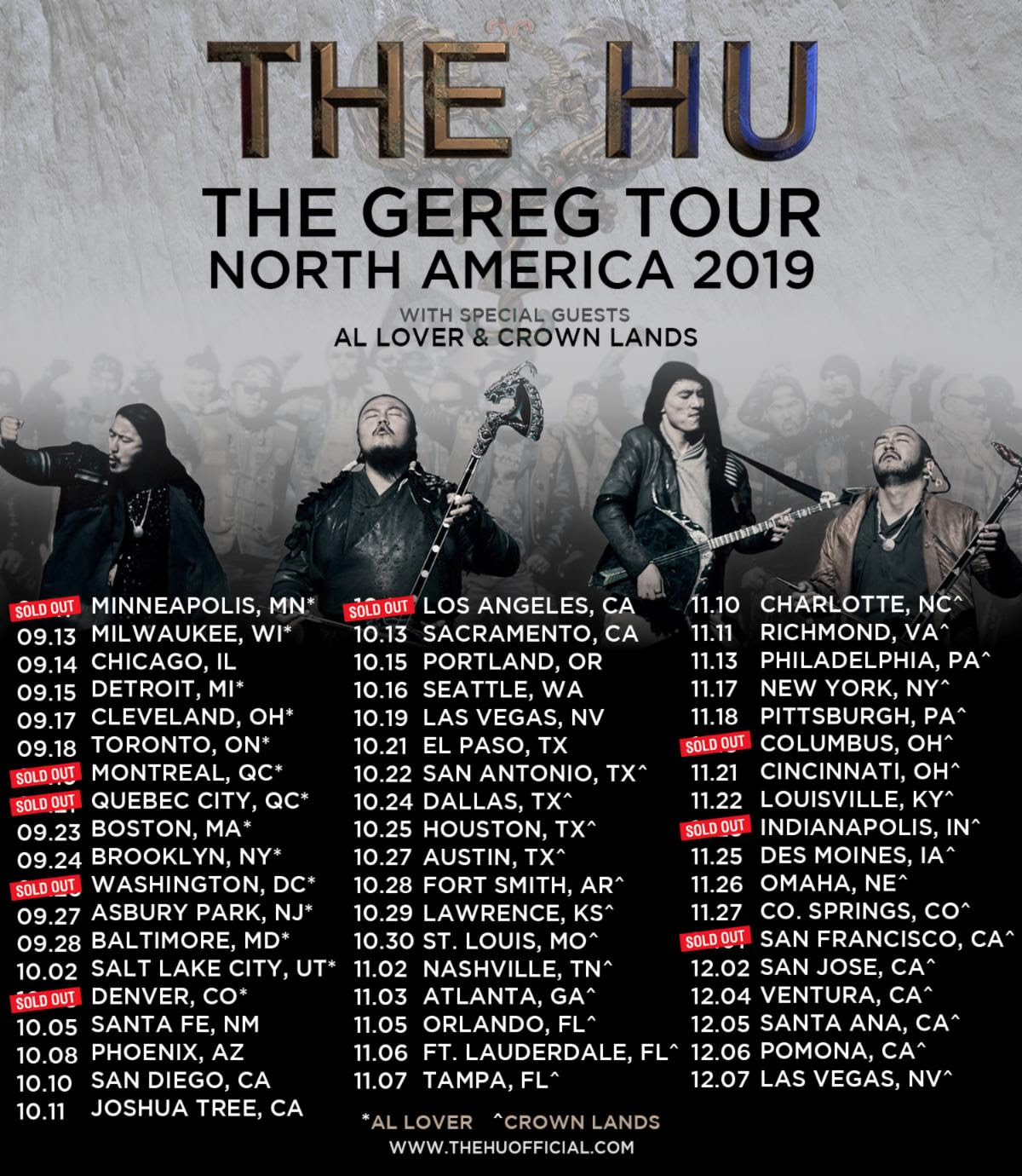 """THE HU  triumphantly kicked off their debut three-month headlining tour across  North America  with the first of  nine sold-out shows  last night in  Minneapolis , thrilling audiences with their one-of-a-kind style of ' hunnu rock' --a combination of American heavy rock played with traditional Mongolian instruments and guttural throat singing that is featured on their debut album,  THE GEREG , out tomorrow , Friday, September 13  via  Eleven Seven Music.    The  Mongolian-based rock sensation  will continue to make their mark as newly appointed  Cultural Envoy of Mongolia  representatives as they perform at several of the fall's biggest music festivals- Riot Fest (Chicago), Aftershock Festival (Sacramento)  and  Las Rageous (Las Vegas )-alongside  sold-out  dates in major cities including:  Montreal, Quebec City, Washington, D.C., Denver, Los Angeles, Columbus, Indianapolis  and  San Francisco .   THE HU  have achieved viral online success with their captivating and cinematic videos for the album's singles """" Wolf Totem, """" """" Yuve Yuve Yu """" and """" The Great Chinggis Khaan""""  which combined have logged over  40 million  views to date and were filmed at historic locations in their home country.    Pre-order THE GEREG here:   https://thehu.ffm.to/thegereg"""