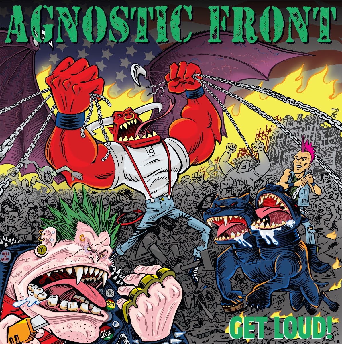 """Legendary NYHC pioneers  AGNOSTIC FRONT  are back to the scene with their twelfth studio album,   GET LOUD!,   which will be released on November 8th via  Nuclear Blast.   In celebration of the announcement, the band offer the lyric video for the first single,  """"Spray Painted Walls""""  which can be seen here:  https://youtu.be/rBU1wi_ijXU    Roger Miret  comments,  """"So excited for everyone to hear our new record    GET LOUD!    I really love the songs and it feels like a great mixture of what we have done our whole career! We put 100% into this from top to bottom! Everyone involved from start to finished just killed it! See you in the pit to celebrate these songs soon!""""     GET LOUD!   was produced by  Roger Miret  while long time friend  Paul Miner  handled the recording, mixing and mastering of the record at  Buzzbomb Studio  in Orange, CA. For the artwork, the band returned to 1986's   Cause For Alarm   artist  Sean Taggart.  It features the iconic CFA characters combined with a modern freshness    GET LOUD!   is compiled of 14 tracks that are nothing short of classic, home grown, New York Hardcore, but still includes some thrashy and punky variety.    GET LOUD!   will be available in the following formats:  CD Digi  VinylBlack VinylPicture VinylWhite ( Limited to 300)Blue Vinyl ( Limited to 300)Gold Vinyl ( Limited to 300)Green Vinyl (Limited 200)Red Vinyl  Red Cassette  T-Shirt  Long Sleeve BundleIncludes Long Sleeve Shirt & CD  Pre-order   GET LOUD!   in the format of your choice here:  www.nuclearblast.com/agnosticfront-getloud  Pre-save the album on Spotify, Apple Music and Deezer:  https://nblast.de/AgnosticFrontPreSave     GET LOUD!   track list:  Spray Painted Walls  Anti Social  Get Loud!  Conquer And Divide  I Remember  Dead Silence  AF Stomp  Urban Decay  Snitches Get Stitches  Isolated  In My Blood  Attention  Pull The Trigger  Devastated   WATCH:   """"Spray Painted Walls"""" Lyric Video    Next week, AGNOSTIC FRONT  will kick off their U.S. trek to celebrat"""