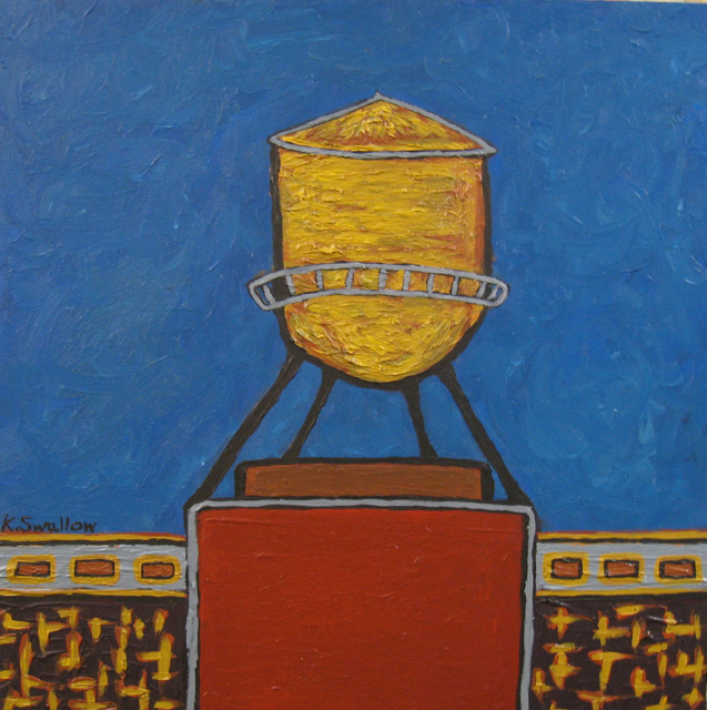 Pencil Factory Watertank, acrylic on wood, 12x12, 2008, SOLD
