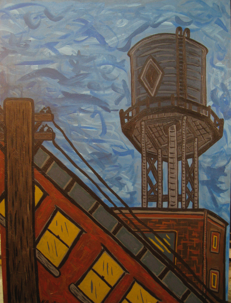 Watertank Blues, acrylic on canvas, 36x48, 2008, AVAILABLE