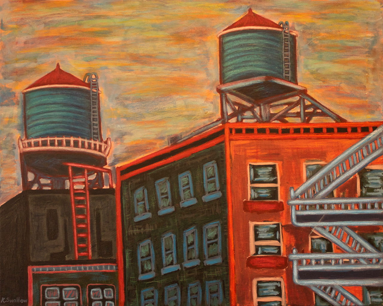 High Line View, West Chelsea (NYC), acrylic on canvas, 24x30, 2012, SOLD