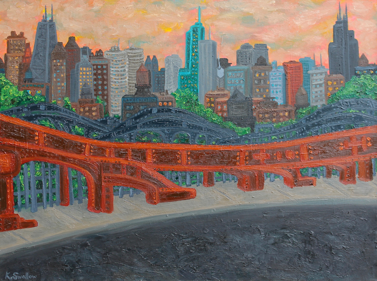 Bridges to Chicago, oil on canvas, 36x48, 2013, SOLD (custom commission)