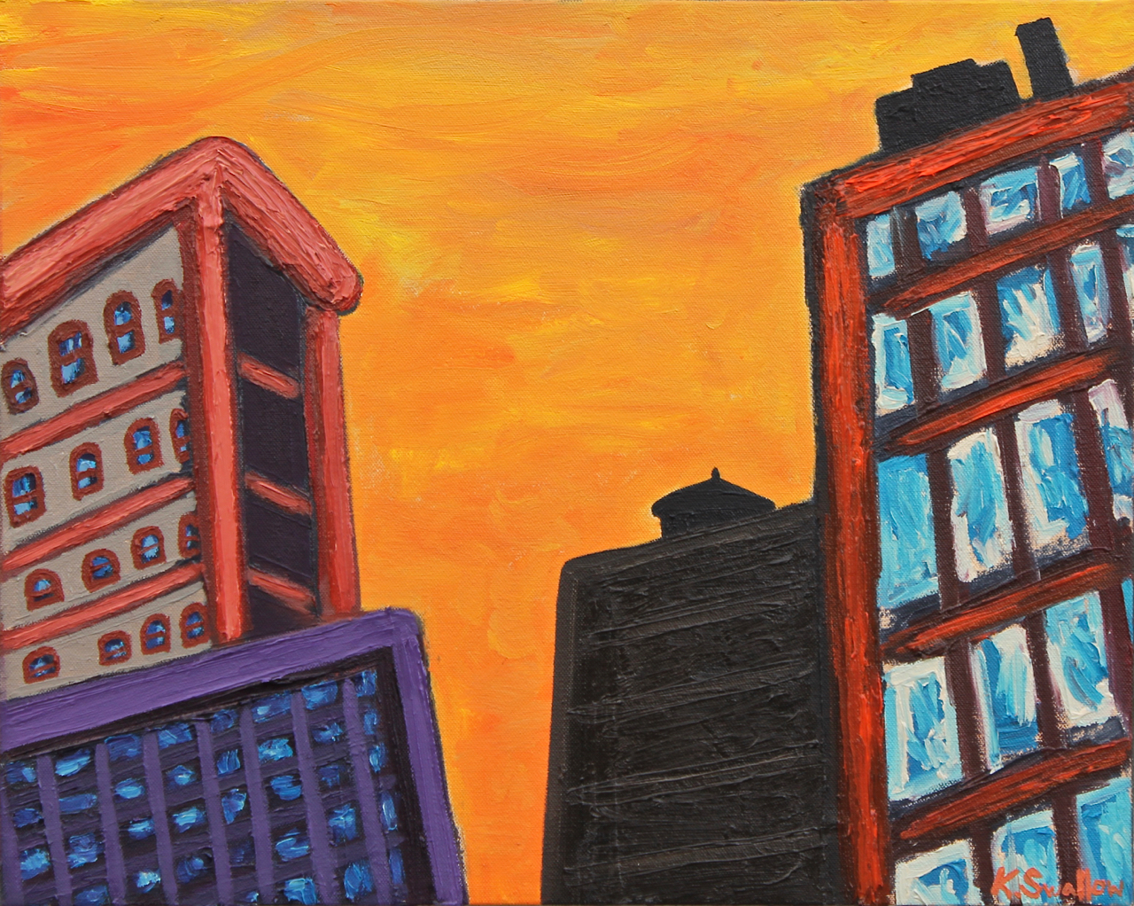 Sunset In the Loop, oil on canvas, 16x20, 2015, AVAILABLE