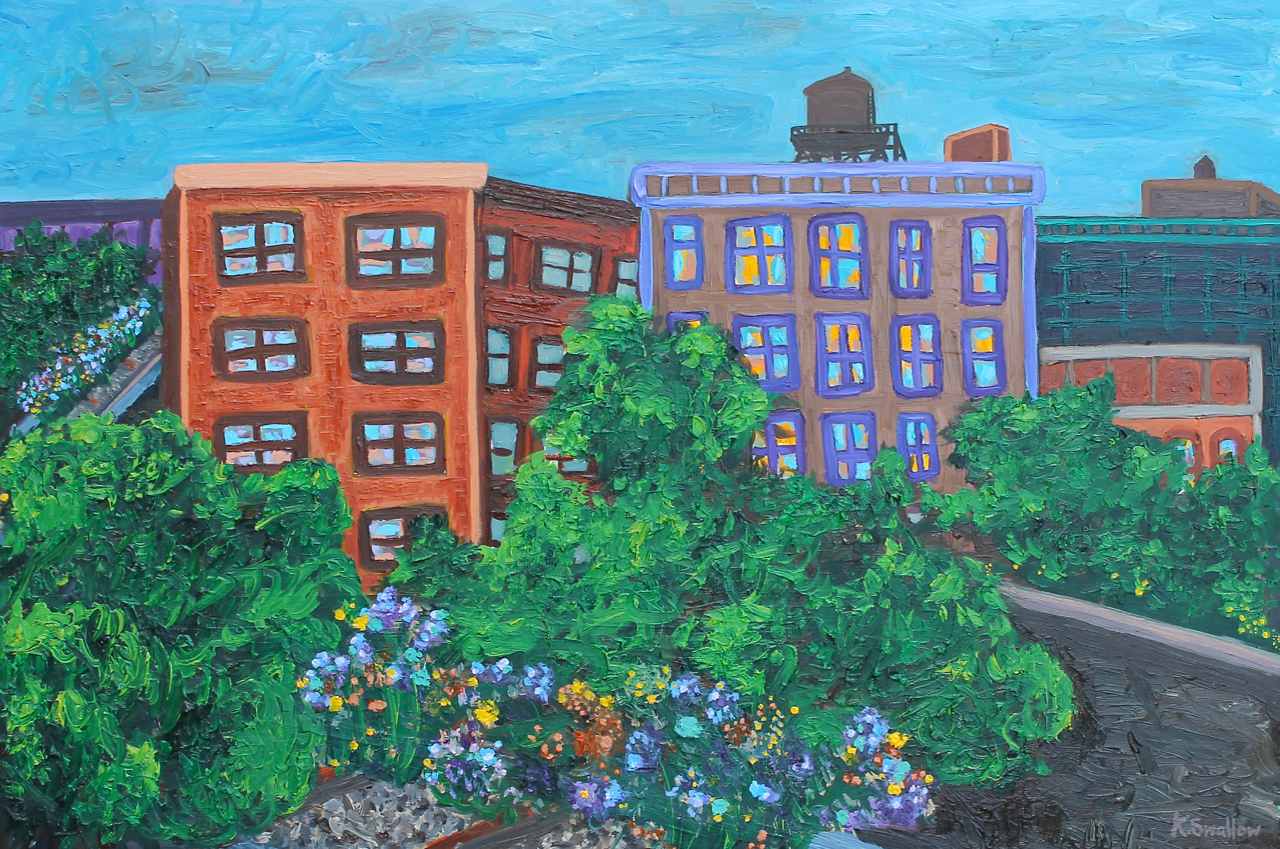 High Line Bend at 30th St., oil on panel, 24x36, 2014, SOLD