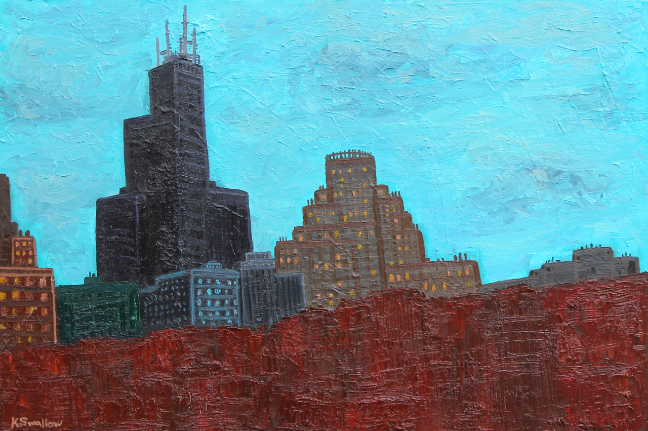 Red Canyon Skyscraper, oil on canvas, 24x36, 2013, AVAILABLE
