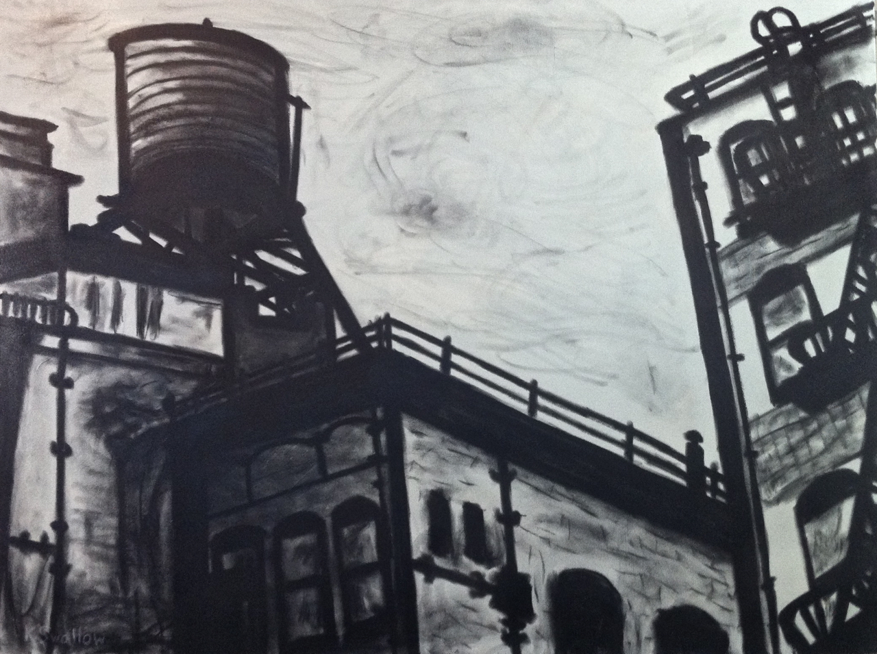 Spring St. SoHo (NYC), charcoal and acrylic on canvas, 36x48, 2012, SOLD