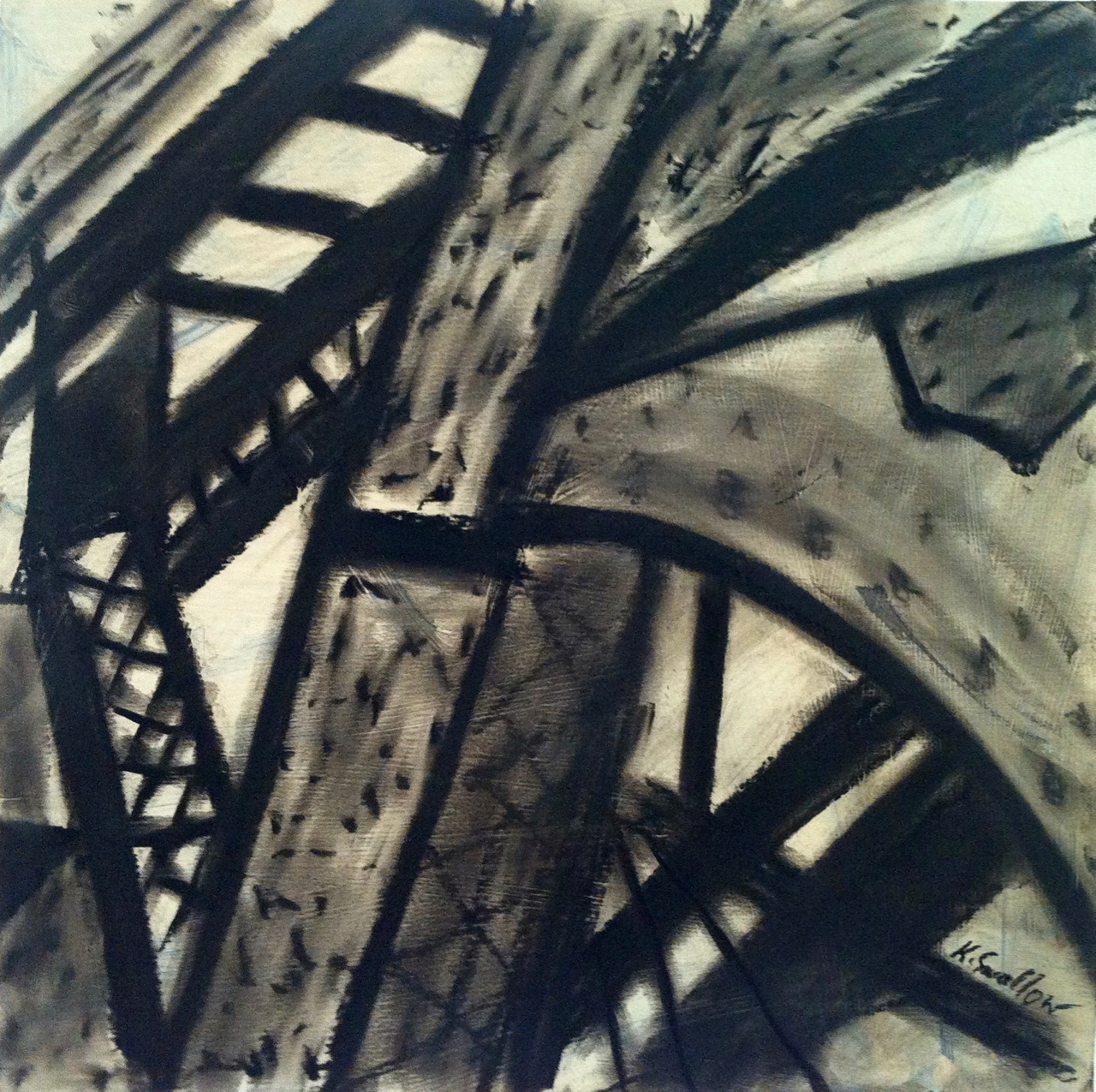 Steel Bridge #1, acrylic and charcoal on record album cover, 12x12, 2012, AVAILABLE