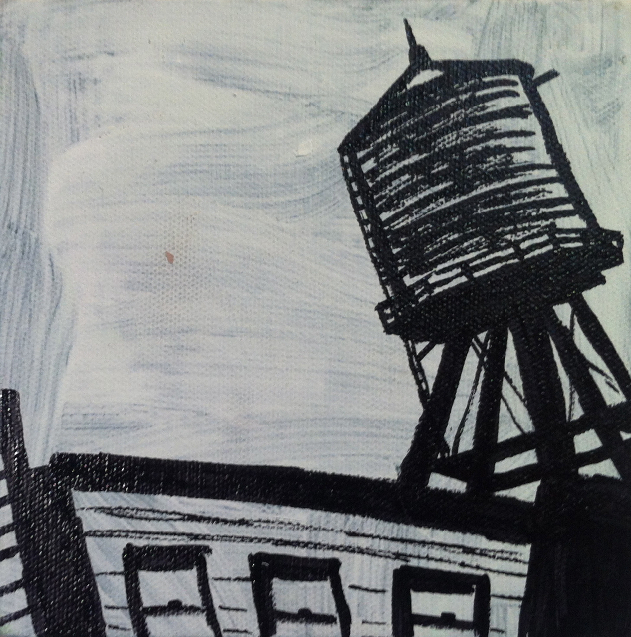 Chicago Angle, acrylic and oil paint marker on canvas, 6x6, 2012, SOLD
