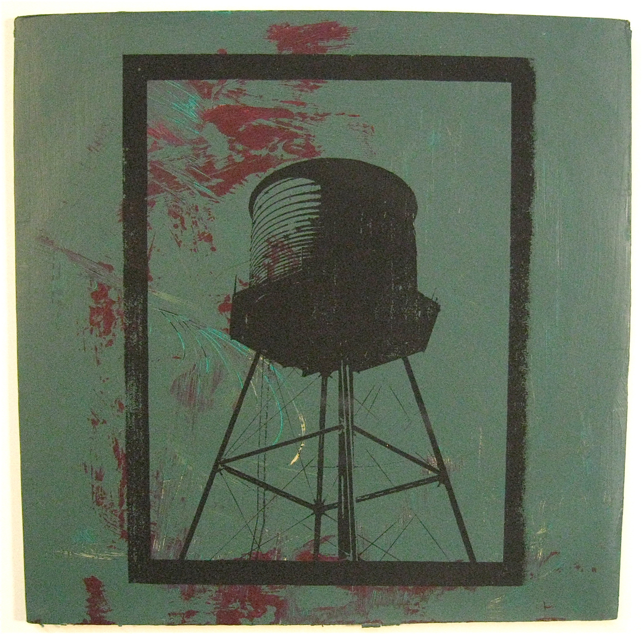 Green with Red, screen print on record album, 12x12, 2009, SOLD