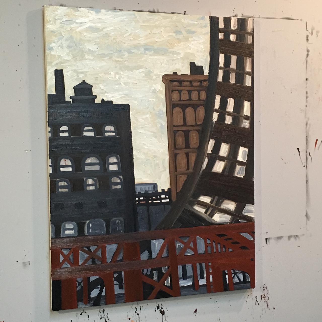 "Cityscape - work in progress, oil on canvas, 48x36"""