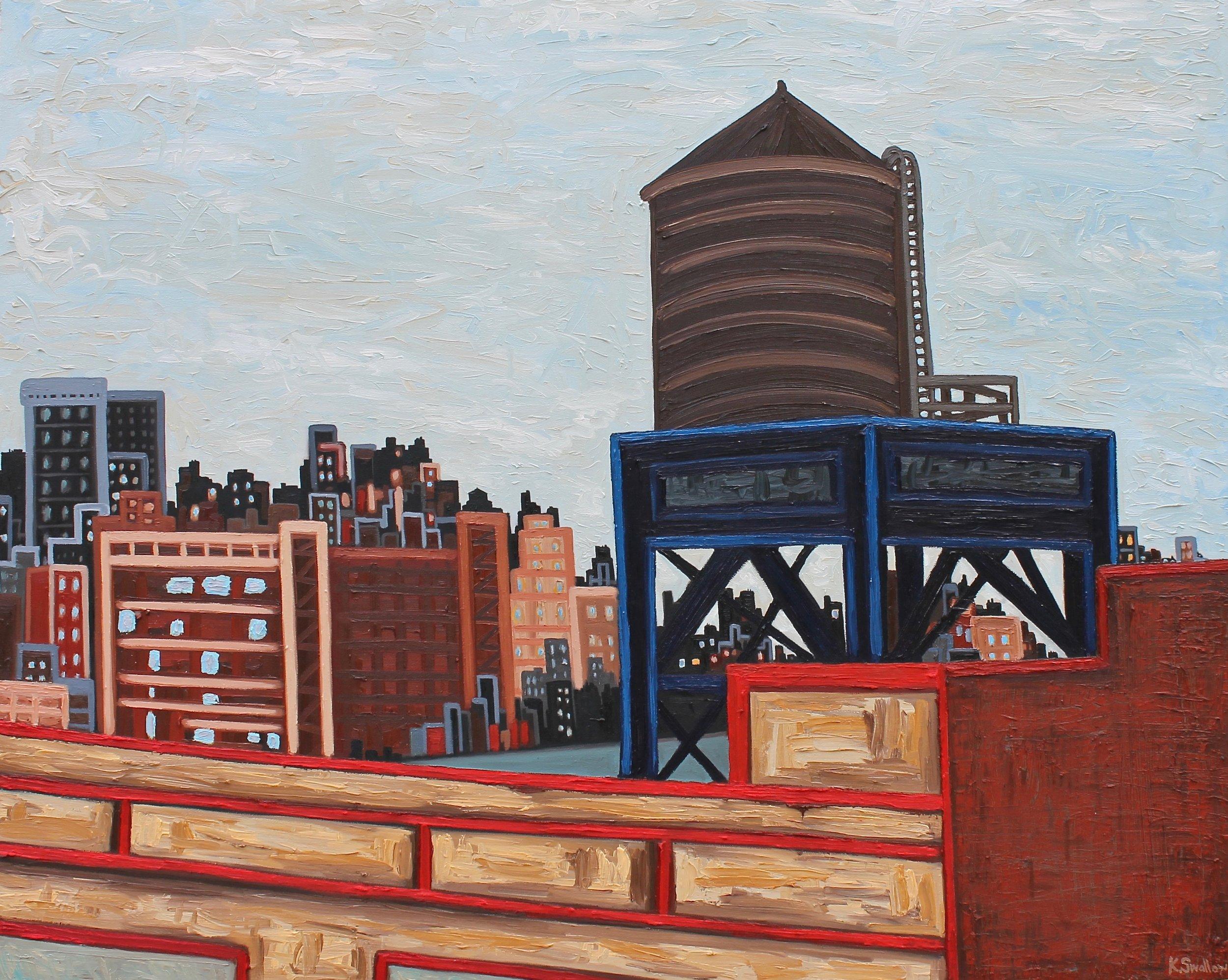 West Village Skyline - New York City , oil on canvas, 48X60, 2017