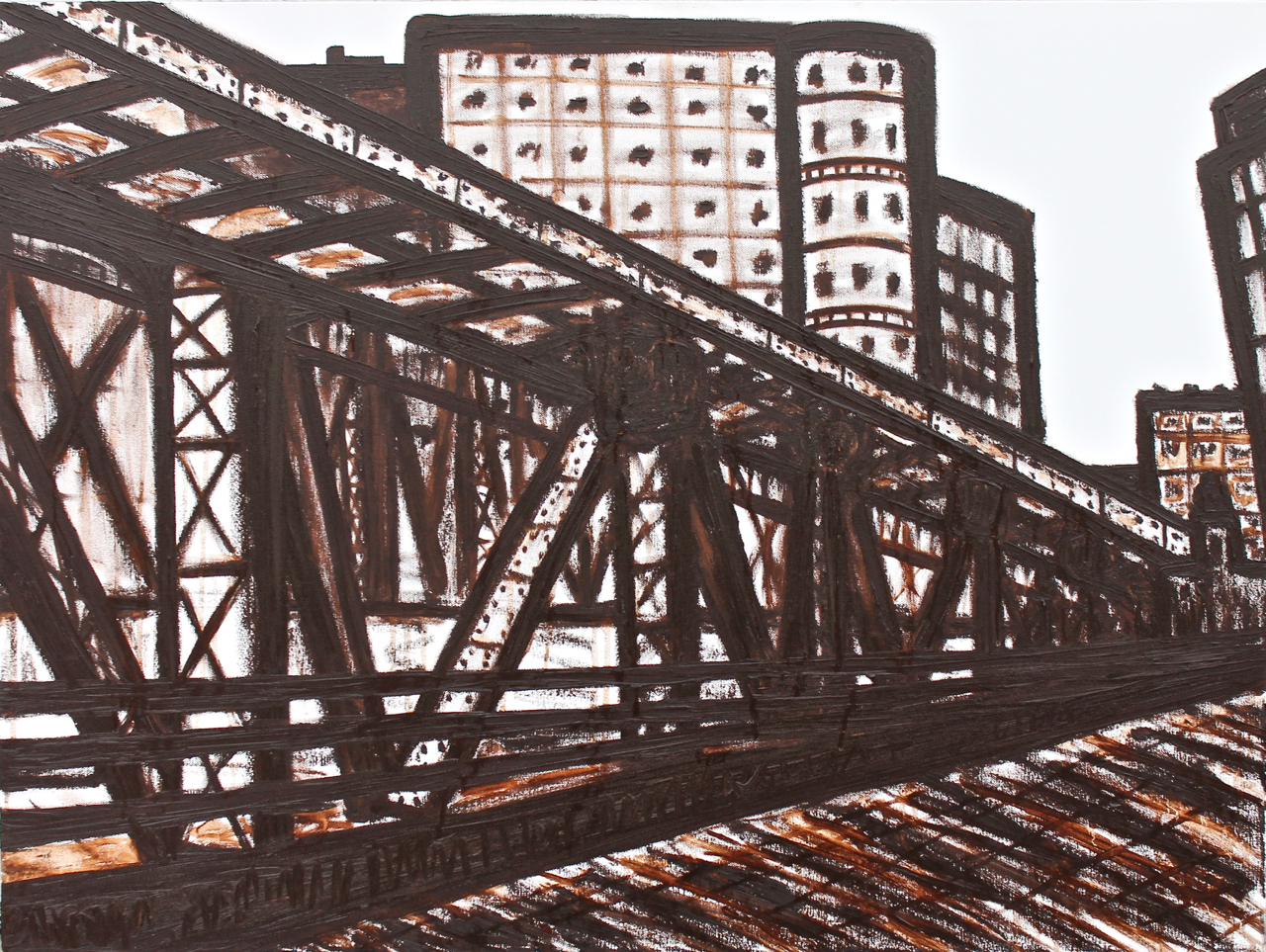 Wells St. Tracks, oil on canvas, 30x40, 2017, SOLD