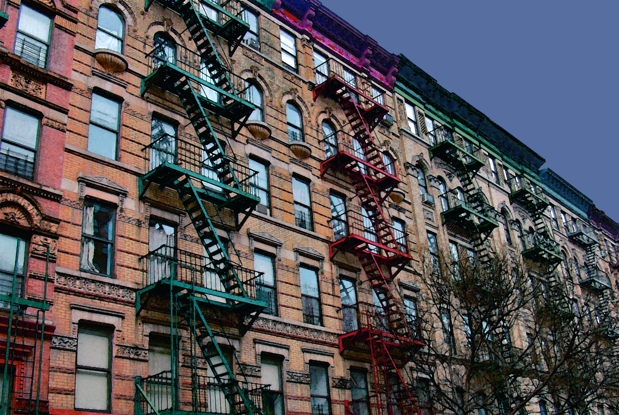 Rainbow Fire Escapes (New York), digitally enhanced photograph, 2009.jpg