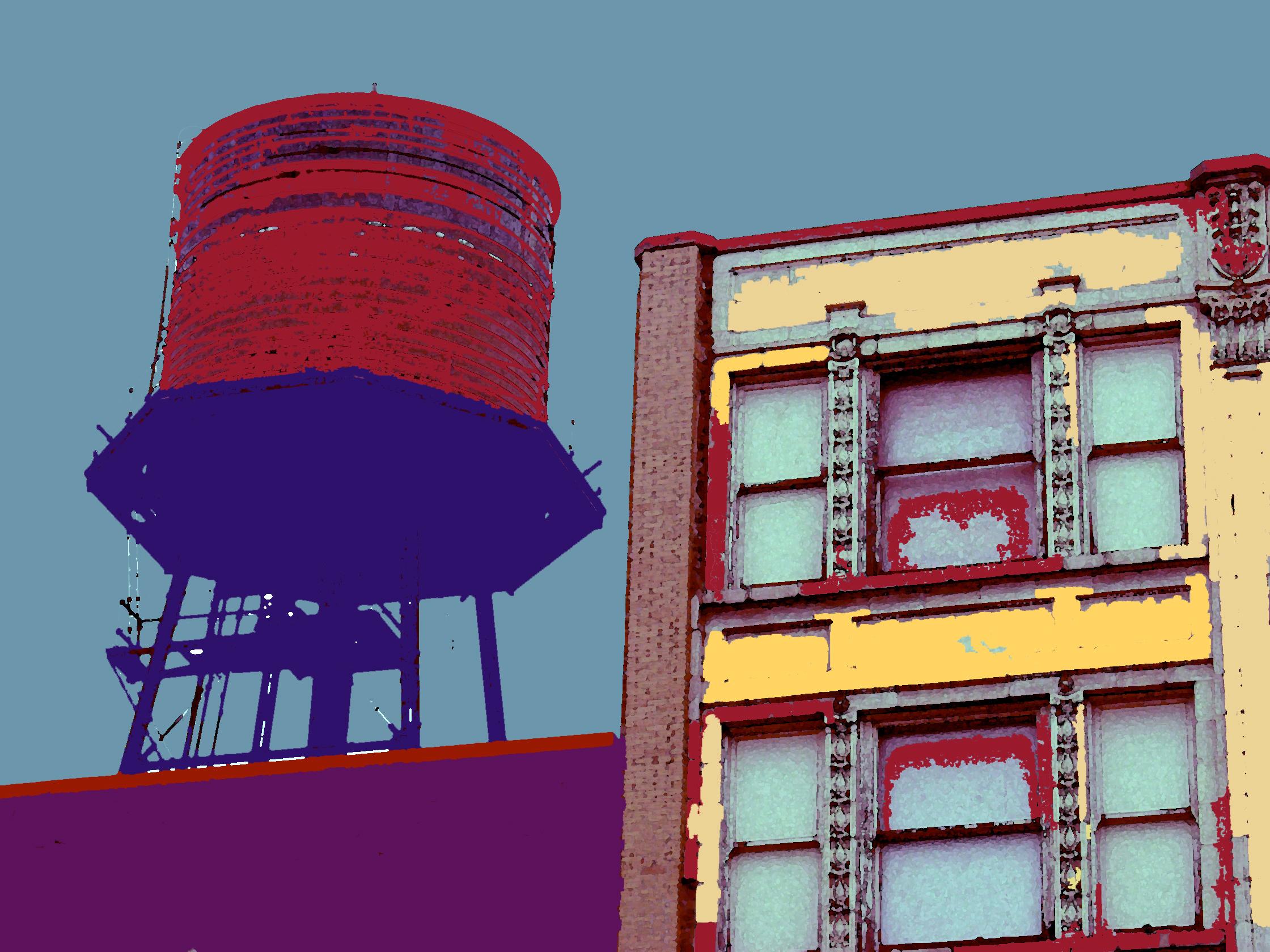 Goldblatt's Water Tower, digitally enhanced photograph, 2003.jpg