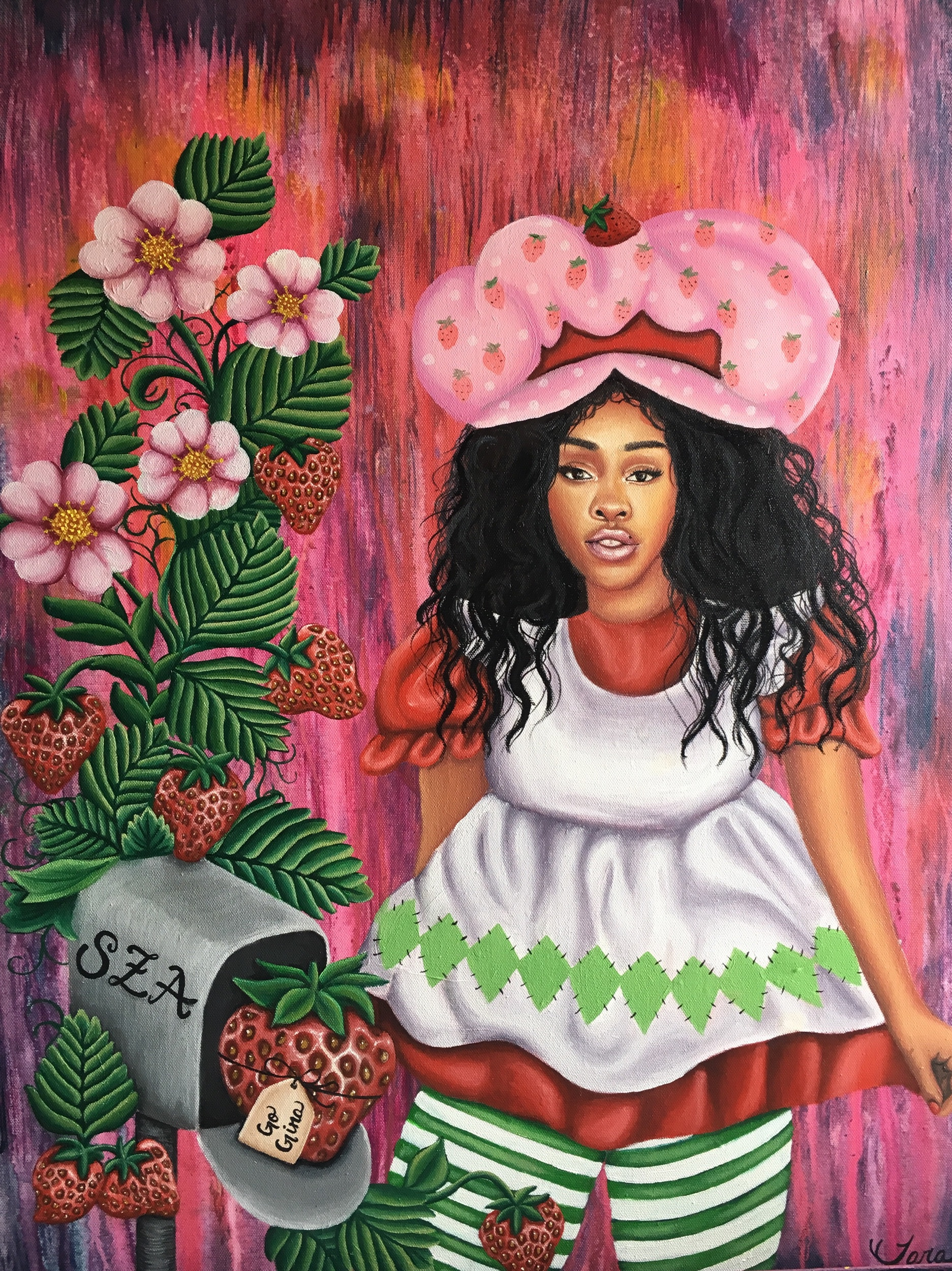 """Sza Shortcake"" 2018  Acrylic and Oil on canvas 30""x24"""