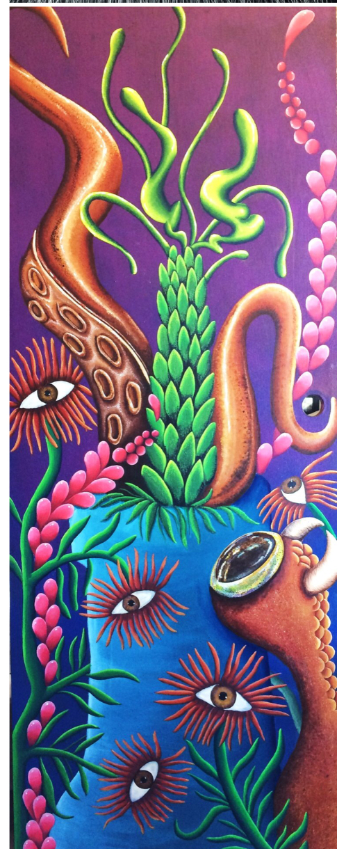 """The Revolution of Evolution"" 2015  Acrylic on wood door"