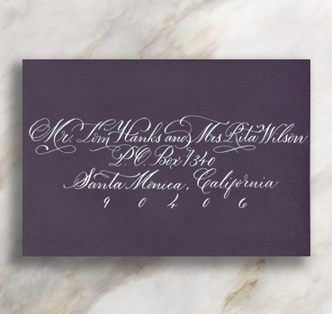 CURLS   Flourished letters add a black tie air to a traditional style.