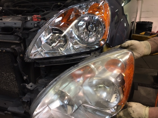 New replacement headlight lens vs. old dingy lens