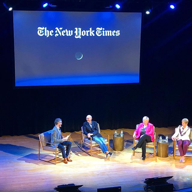 One giant leap 🌙  Happy 50th to #Apollo11 —  50 years ago today, the USA landed on the moon.  Tonight was a pretty incredible experience, spending the evening with the legends of space: Michael Collins, Poppy Northcutt and Peggy Whitson — thank you @nytimes for bringing these phenomenal people together in a conversation sharing their remarkable story.  What an inspiration!  And thank you @tholee for a truly special night 💓 #legends #onegiantleap #moonbound #apollo11 #nasa #inspired #wecameinpeaceforallmankind #michaelcollins