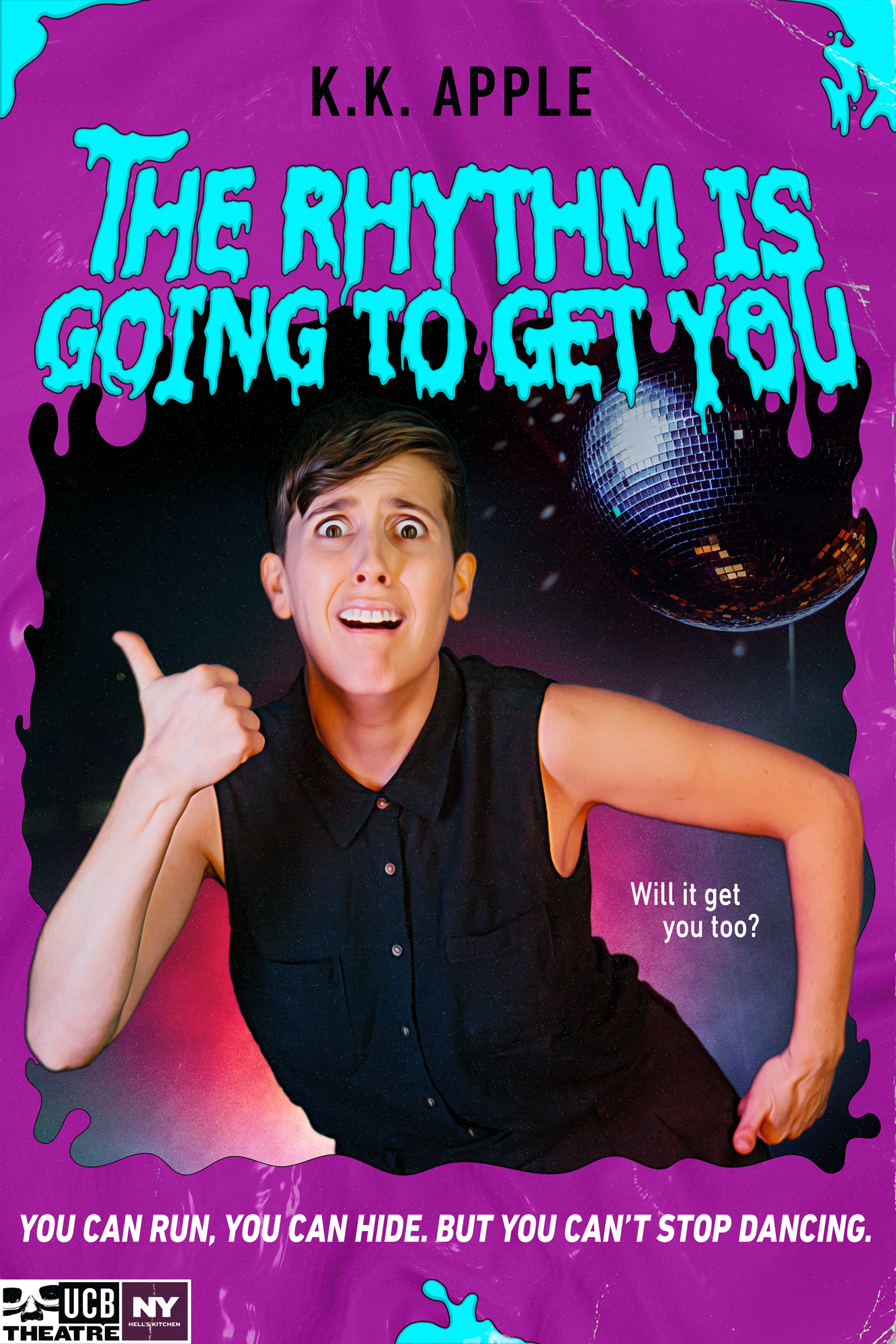 Poster for The Rhythm Is Going to Get you show: woman with scared face, dancing.