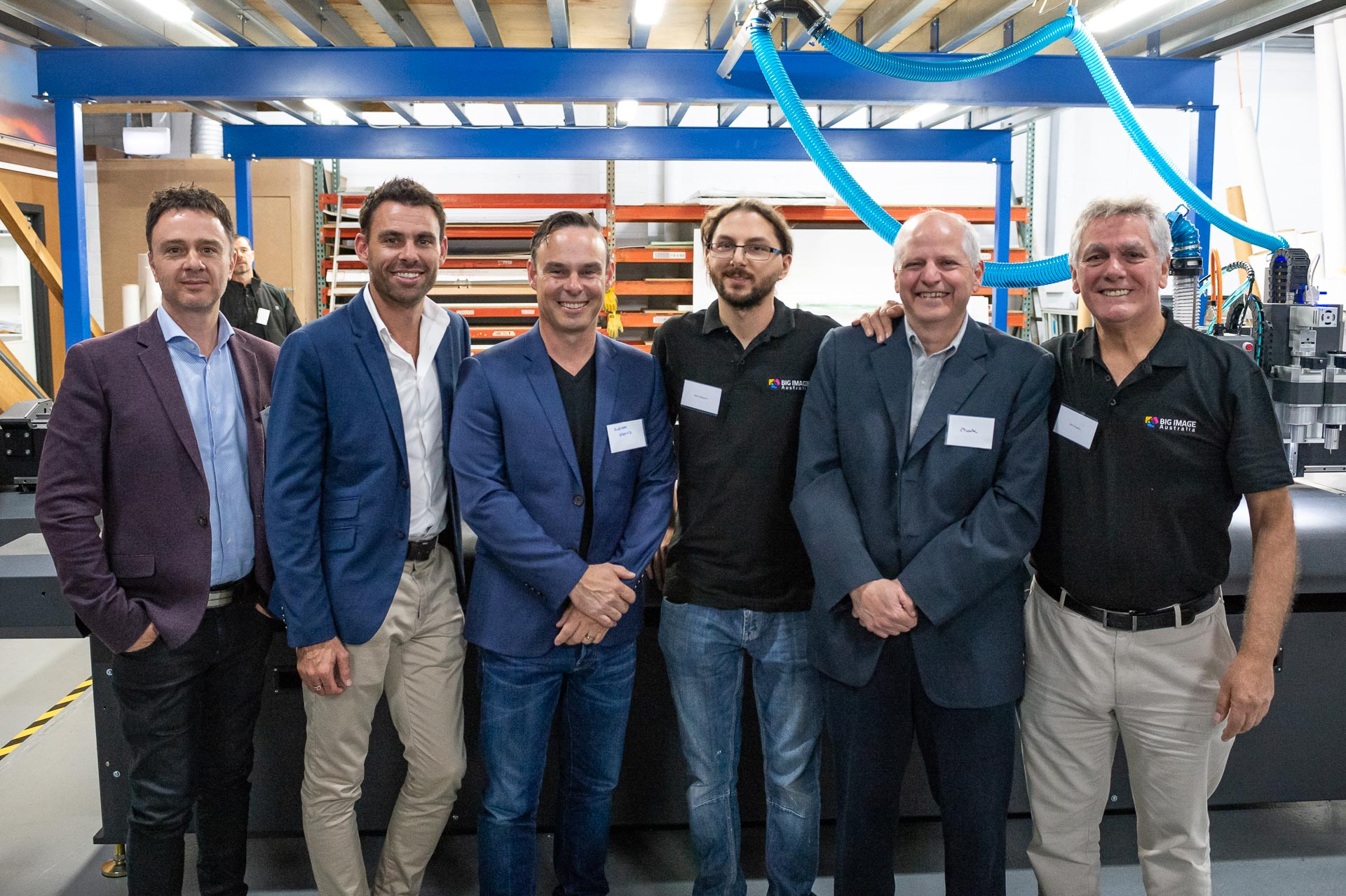 Big impact: (l-r) Paul Gerasolo, account manager, Graphics Media, HVG; , Mark Thomson, SA state manager, HVG; Adrian Morris, business manager, strategic growth, HVG; Dion Capagreco, Big Image; Mark Bibo, Gerber; Carlo Capagreco, Big Image