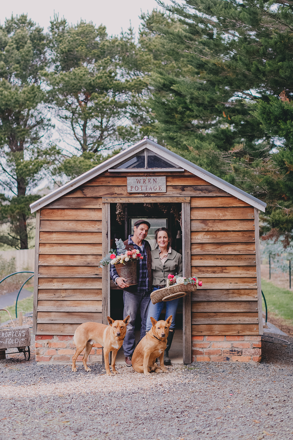 Ashley, Danielle, Mudgee + Magoo at their potting shed. Photo:  Chloe Smith Photography , 2018.