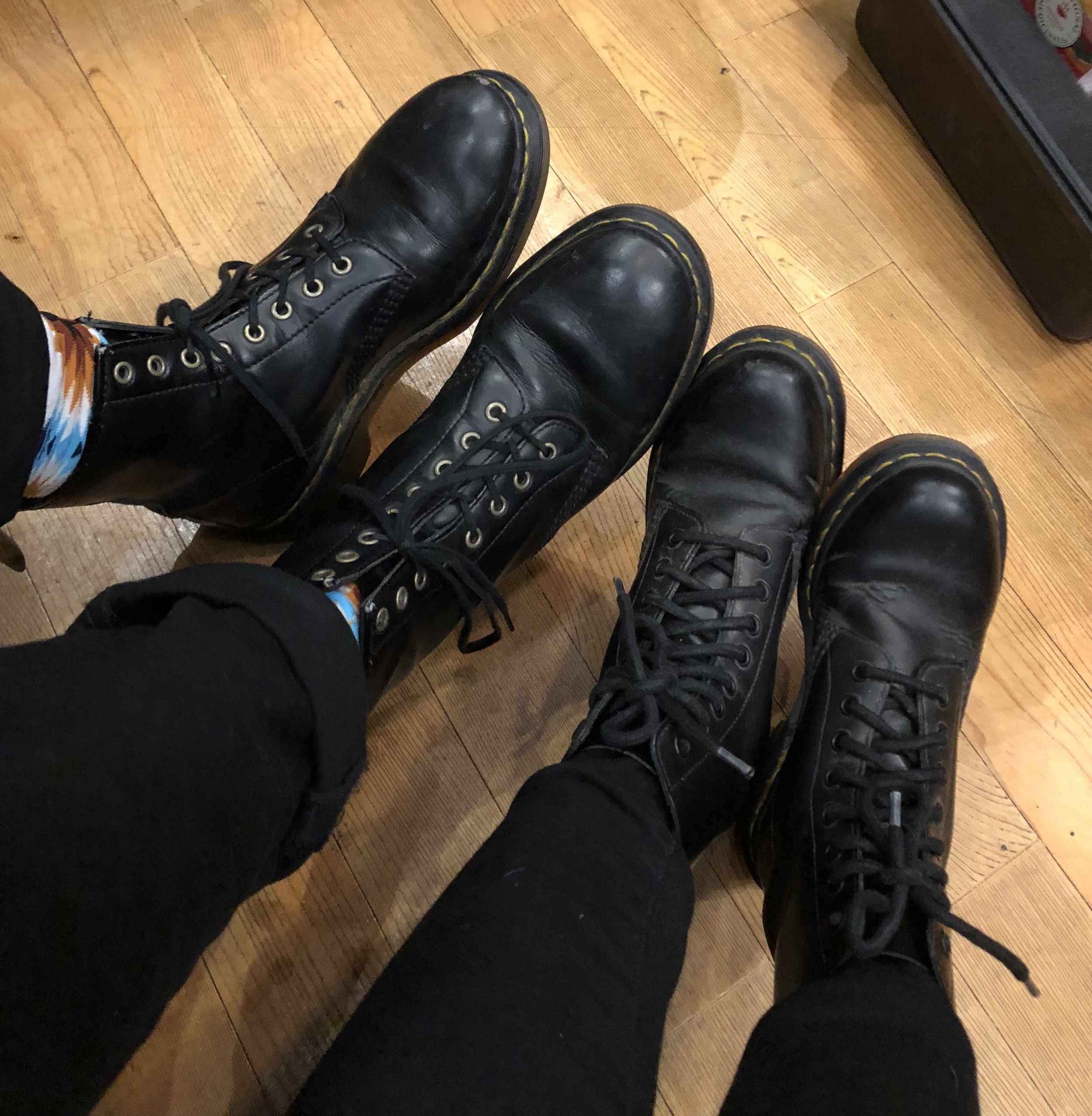 Keith and I turned out to both be wearing our Doc Martens! Except his shoes are vegan.