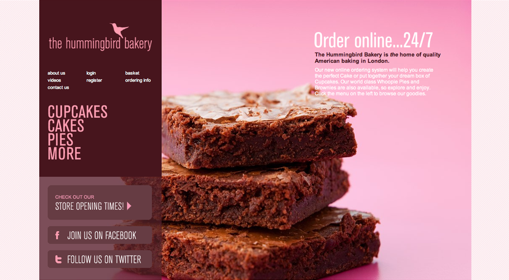 The Hummingbird Bakery's first eCommerce website