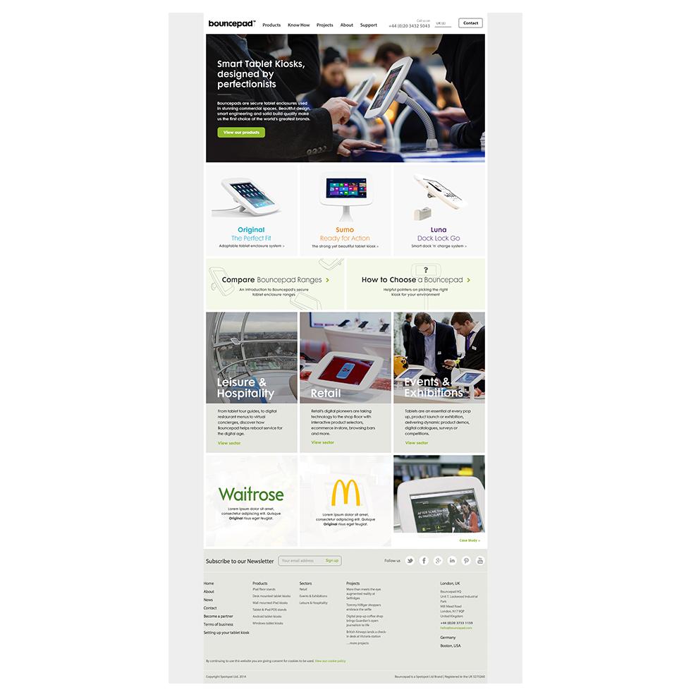 Bouncepad's B2B website