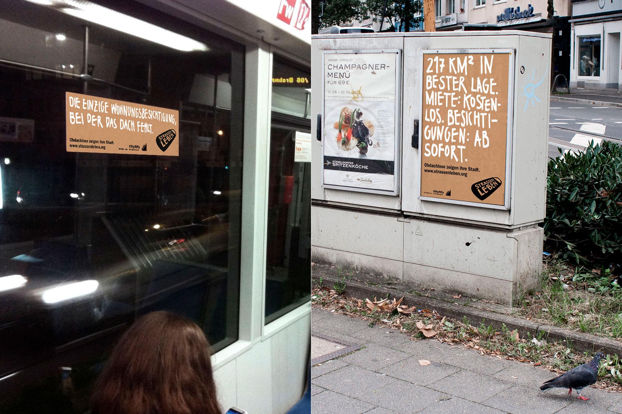 Seitenscheibenplakat in der Straßenbahn 706 und Poster im Stadtraum