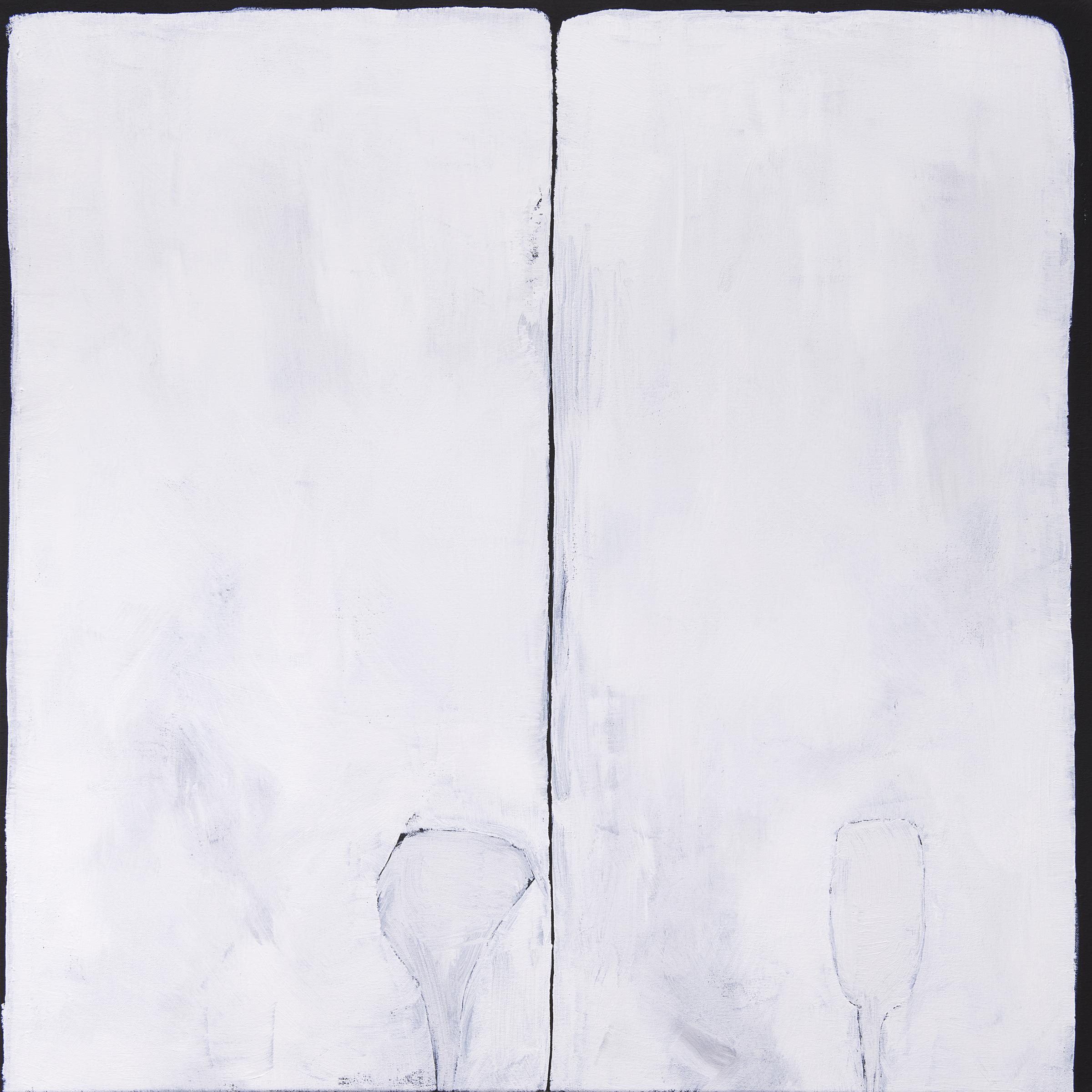 Against the horizon , 2018, acrylic on canvas, 80 x 80 cm, photograph courtesy of Galerie pompom