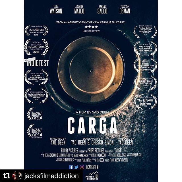 #Repost @jacksfilmaddiction ・・・ 🍿 NEW REVIEW 🍿  ICYMI check out my review for the Spanish thriller set in Iraq, Carga (@cargafilm), directed by Yad Deen (@yaddeen). ☝Link in bio ☝ • #films #movies #review #shortfilm #Carga #middleeastcinema #supportindiefilm #cinema #spain #iraq #uk #thriller #action #horror #filmblogger #femalecritic #jacksfilmaddiction