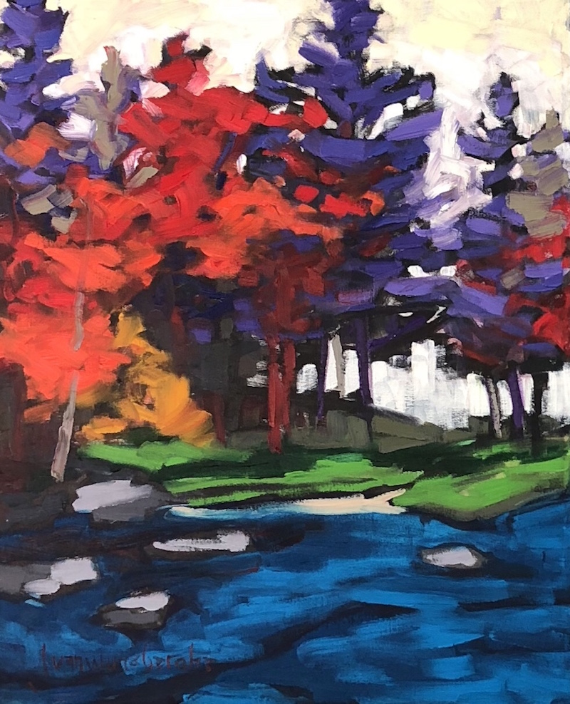 fall 9 (diptych) - 24X20