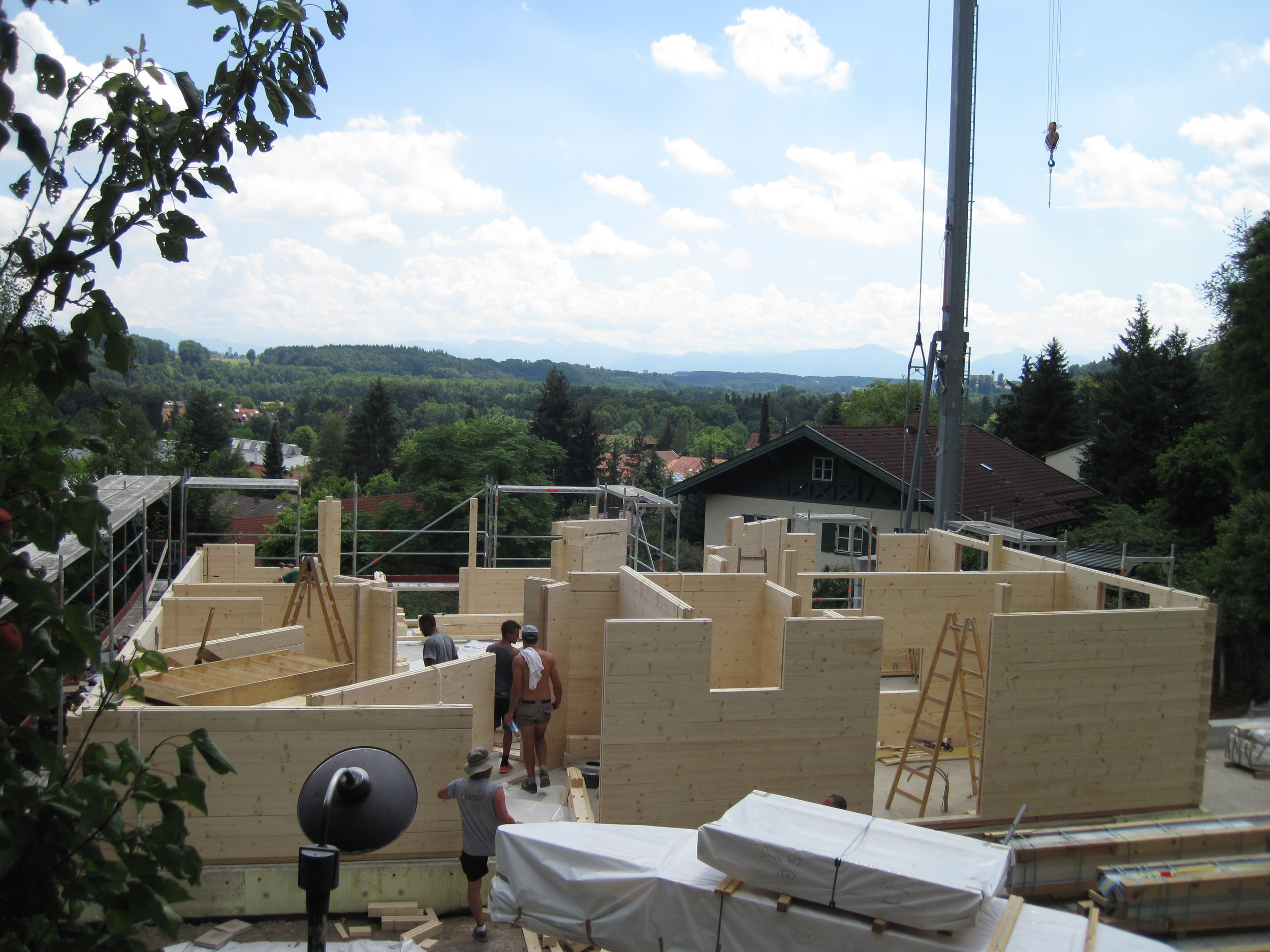 House going up from Chiemgauer Holzhaus using the same system that Spacetwo use in their modular buildings.