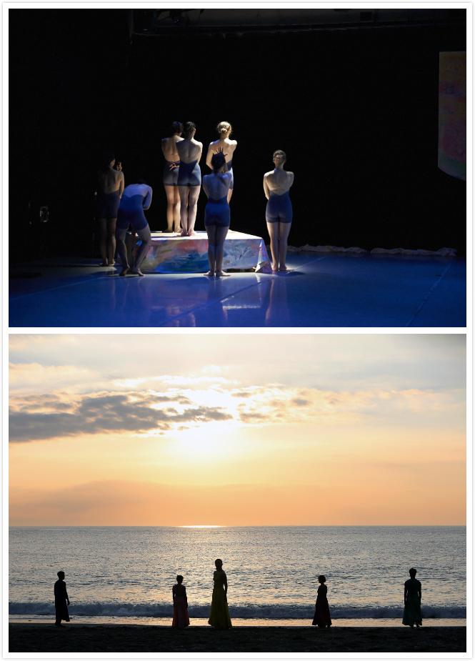 """【關於劇場】 - 2015年首演的《52 Hertz》由七位女舞者在紐約瑪莎葛萊姆工作室劇院啟程,以""""世界上最孤單的鯨魚""""為靈感創作,怎麼把空蕩蕩的黑盒子空間,轉化成讓觀眾能幻想優游其中的大海,是我們當時與舞台設計陳幼欣和燈光設計陳怡仲討論的重點。「月色中的大海」是我們當時想像中的舞台背景,所以我們試圖以螢光染料與藍光營造出波光瀲灩的效果,並在舞台的一角打上一縷白光,就像月光灑落在礁岩上,讓不安於室的海中夜行生物得以開始蠢蠢欲動,如此令人屏息的悄悄拉開了《52 Hertz》的序幕.....2016年《52 Hertz》回到台灣花蓮,原本是為了讓舞作本身找到最適合的歸屬地,大自然精心設計的光影與海色是我癡心妄想的舞台背景美夢,但接踵而來的實際成本考驗,讓我們嚇得退步三舍,舞台設計鄭仕杰看我們卡關在搭架舞台與觀眾席的經費,突然冒出一句,""""那就不要舞台啊!""""我看著舞台設計說不要架設舞台!....那.....驚恐實在無法言語....頭腦一時還轉不過來,只見他不疾不徐地秀出沙畫圖騰,""""人為架設的舞台在大自然中,也像是個垃圾,隨潮汐消逝的沙畫才會是對大自然最友善的舞台設計"""",表演者與大自然的光影、沙畫與潮汐、浪花與浪聲,這些在黑盒子裡做不出來的舞台效果,變成了《52 Hertz》環境劇場版本,我們又愛又恨、越想控制卻越不能控制的劇場概念主軸~"""