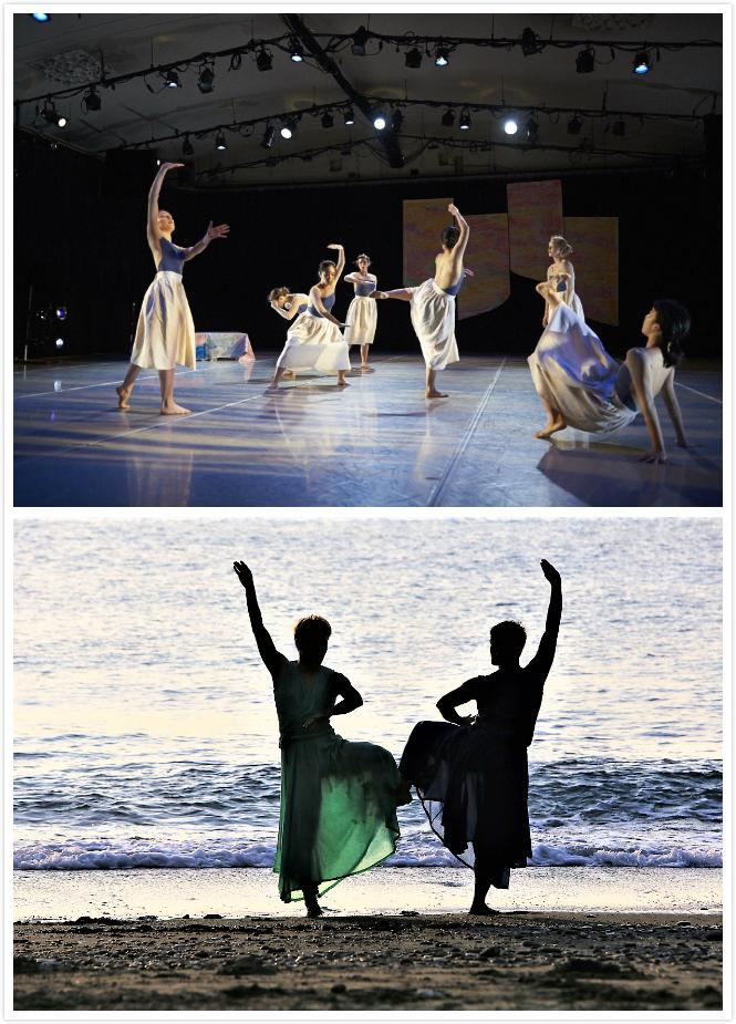 """【關於身體】 - 時間又飛回2014年的12月,《52 Hertz》的編舞提案讓我們被選入CUNY Dance Initiative成為駐校表演團隊之一,整整四個月充足免費的排練空間,讓我們有時間可以實驗新的身體語彙。一開始我們思索著,怎麼讓來自六個國家的七位舞者,能夠和諧的、精準的一同說這52 Hertz的故事?又要從什麼切入點來講這個故事?這隻孤單的鯨魚真的自怨自艾嗎?在海中的鯨魚,牠的身體質地要怎麼表現呢?...雖然一想到浪、潮流有讓人輕柔波動的感覺,但體型很大的鯨魚力道應該是沉緩又強勁的。當時因為迷戀""""一代宗師""""而已經開始學拳一年的我們,發現「八極拳」不花俏卻近身攻擊的特點,跟大海中的鯨魚好像!於是每次排練的團課就從站樁、馬步開始...從小八極拳開始,震腳、纏絲勁、十字勁...,我們一次次的轉化空間、主動被動的關係、拳法對應的動作、力道的轉換、時間的變化,一次次慢慢的磨出我們心目中想像的,那一隻鯨魚可能的身體質地。於是劇場版的《52 Hertz》可以看見七位女舞者極力用自己身體可以理解的方式,詮釋了加入八極拳元素的當代舞。場景又飛回到台灣,劇場版本的《52 Hertz》真的全部適合直接放到沙灘上嗎?什麼是多餘的,又缺了些甚麼?從女舞者換了男舞者,身體質地非常不同,什麼該忍痛捨棄、又哪裡該重新從男舞者身體去找到新動作?整個說故事的架構又更加抽象了,打亂重組、再打亂再重組,讓自己的身體能再更靠近地面一些。為了與大自然共舞,我們學會拋棄掉一些自我的主見、與過往的表演經驗想法,讓出一些空間給大自然做我們身體的主導,恆動的沙質地版、未知的潮水與海風,成為隱形的操偶師,大自然也想在我們身上說出它的《52 Hertz》故事...."""