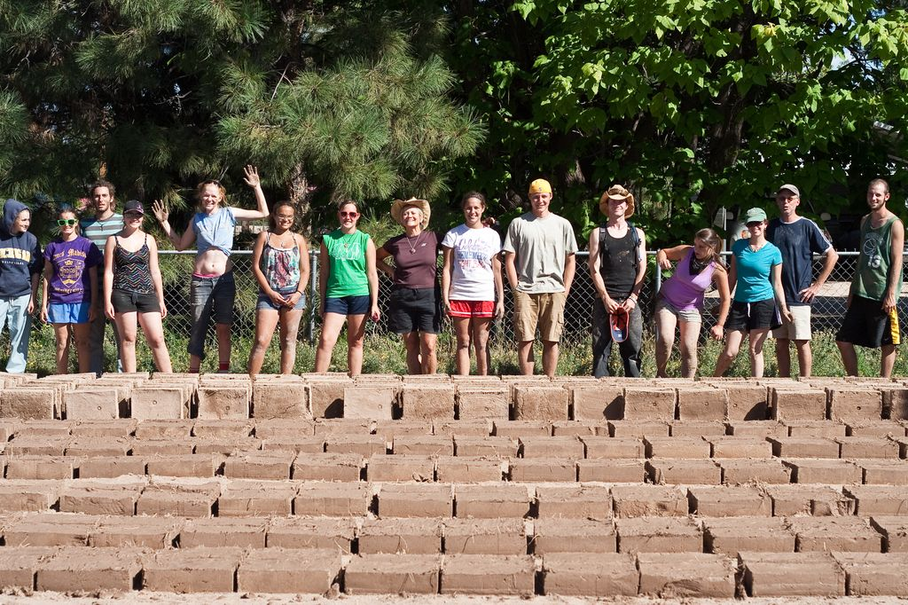 Adobe in Action volunteers from Castleton State College after a day of brickmaking in Española, NM.