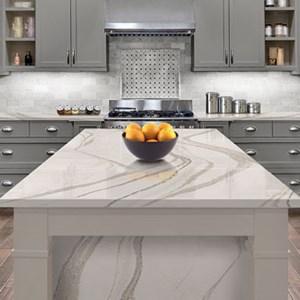 Cambria Quartz, Granite or Wood Counters are available.