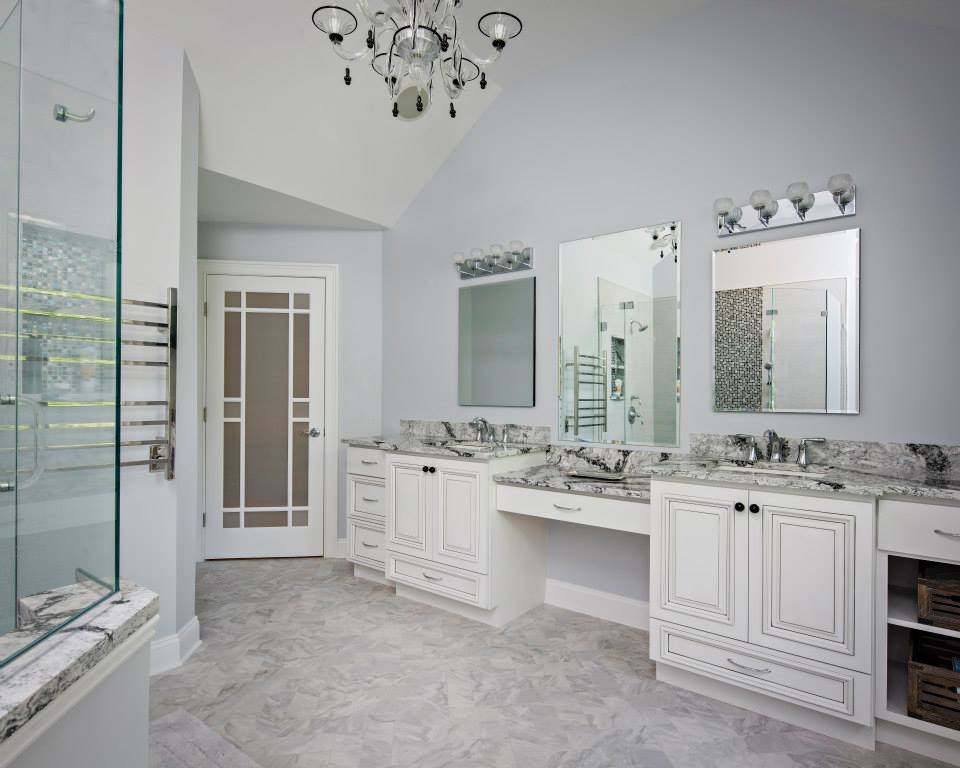Full Overlay doors and drawers for this master bath.
