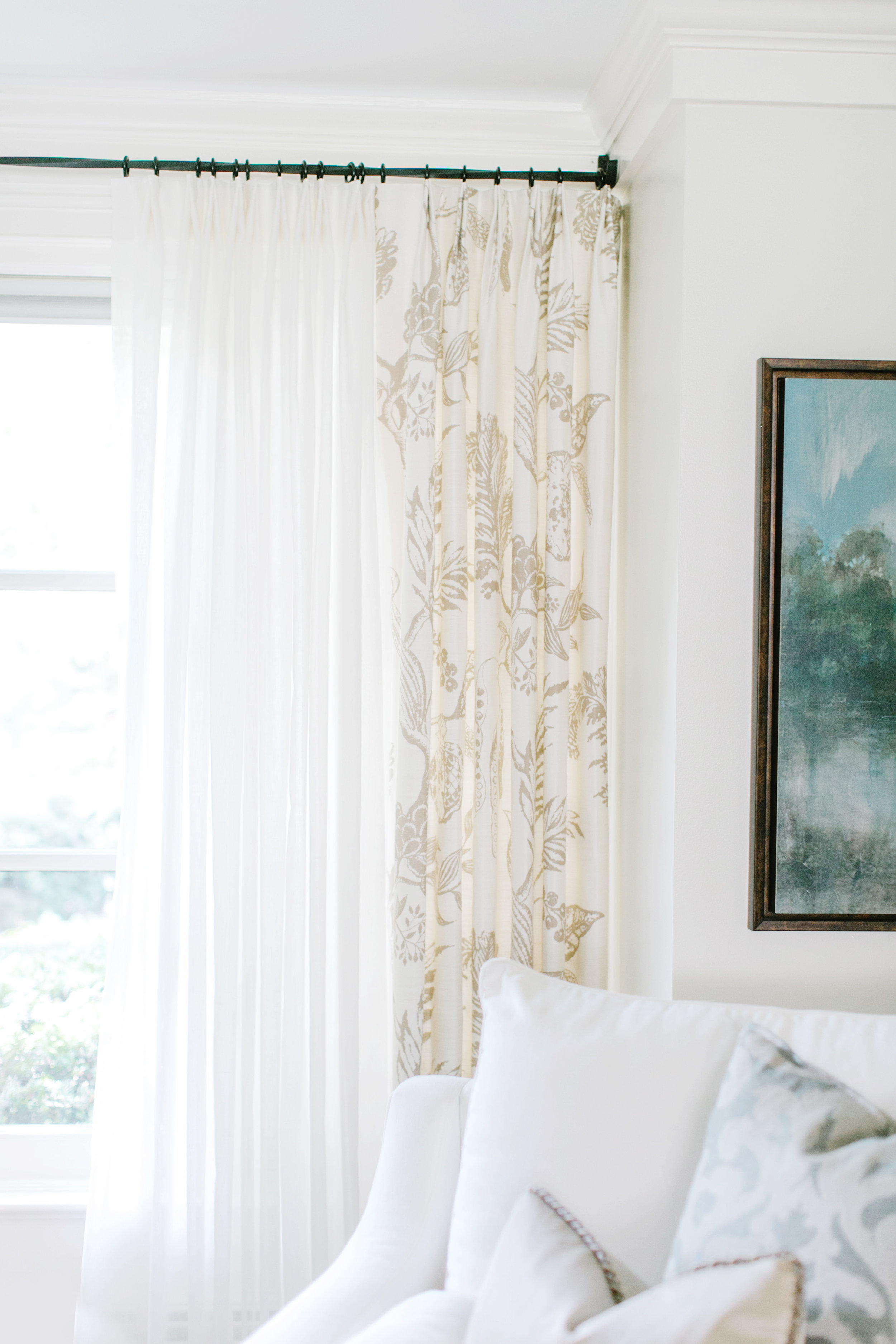 Custom curtains in a client's home