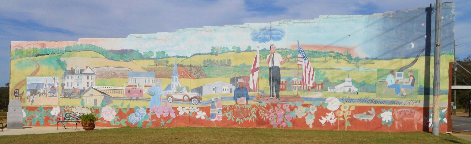 """The """"Clio Heritage Mural,"""" featuring George Wallace, is situated in the center of town."""