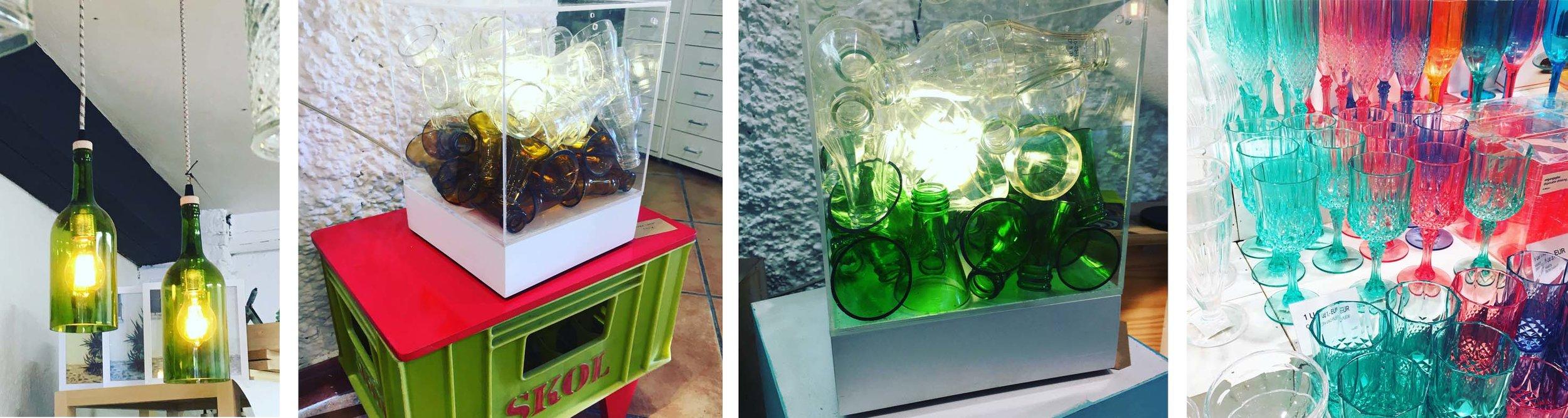 Porque temos ímã de projeto - as garrafas -que serão muito usadas em evento corporativo que estamos preparando -encontradas de várias formas criativas, no meio do nada, em galerias de arte, como esculturas, objetos e luminárias. E as lojinhas que amamos, que dá vontade de trazer tudo! Pena ainda não termos no Brasil material de tão boa qualidade, em itens descartáveis como estes copos super lindos. Pena que estes, não dá para trazer!
