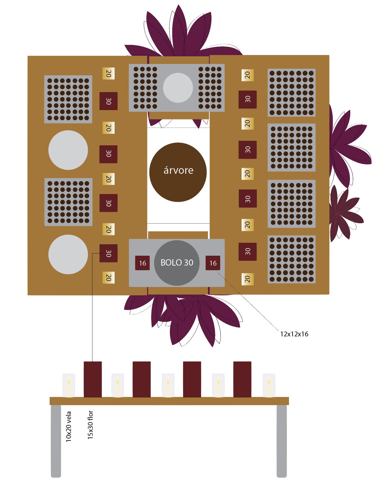 Aqui, a alteração da mesa em relação a ideia inicial. Neste projeto não houve locação de mobiliário, tivemos que nos virar com o que existia na casa. Fizemos partido da árvore para localização da mesa de doces, posicionando as mesas em torno dela, como que a abraçando.