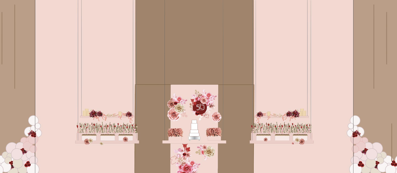 Representação gráfica baseada nas medidas reais do espaço. Pé direito de 5,80 e uma parede de fundo de quase 10m. Painel de fundo de bolo, mesas e prateleiras suspensas, os suportes transparentes para os doces. Até as forminhas, nas cores do tecido fendi usado no ambiente estão aqui representadas.