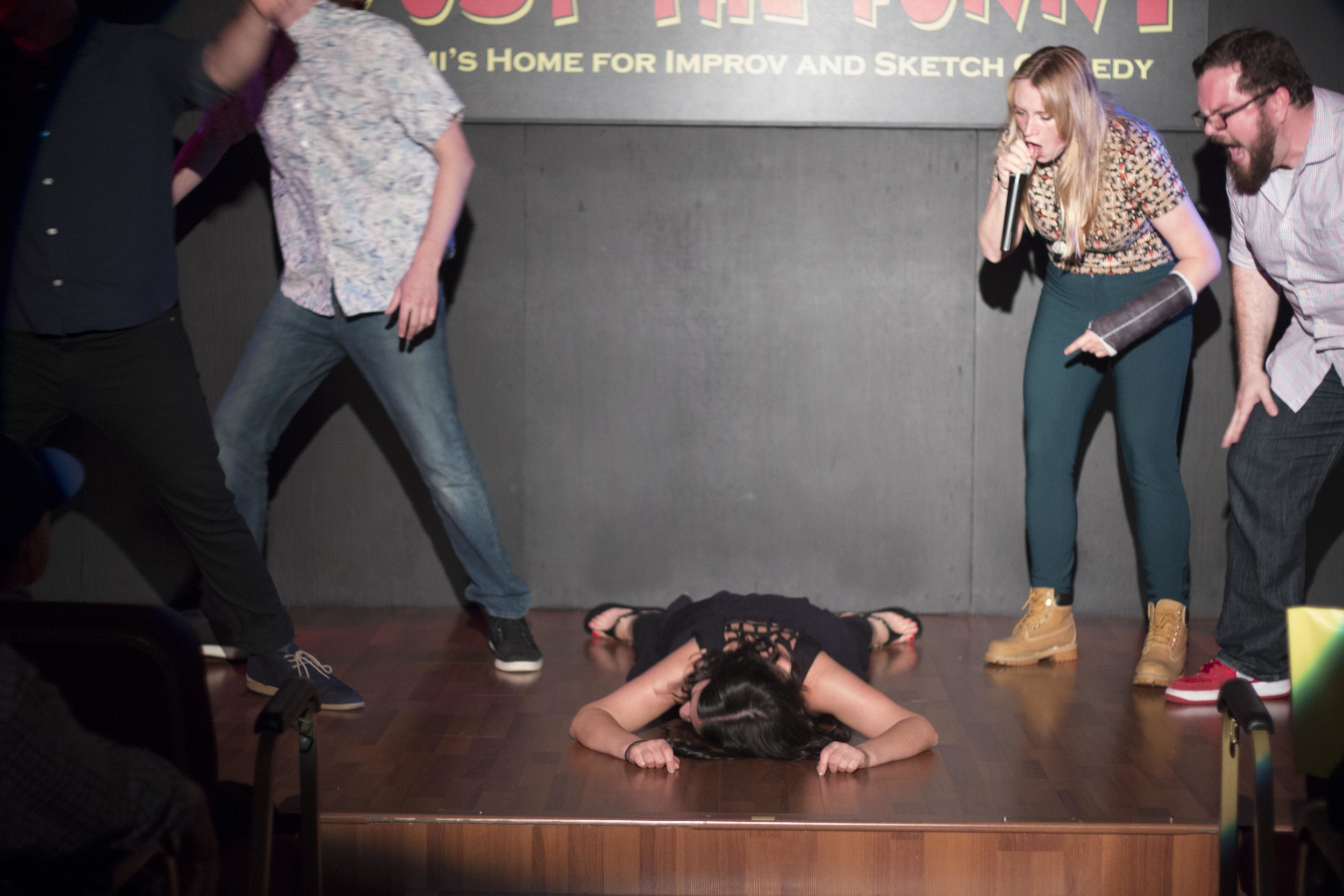 Failing at on-stage pushup in Miami at JTF. Photo: Carolyn Boyer