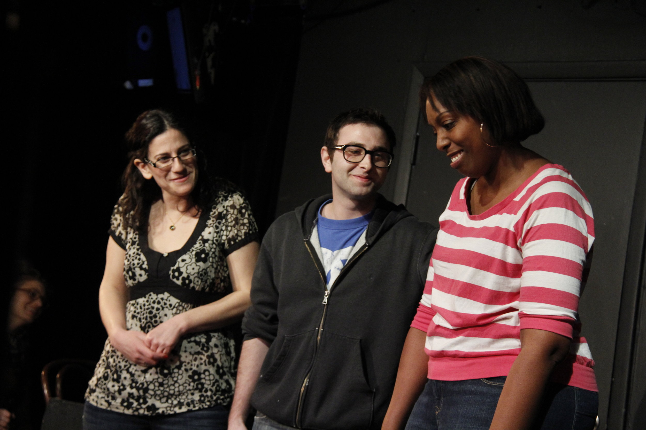 Boris, Julia, and myself at UCB Cagematch circa 2011 or so. Babies!