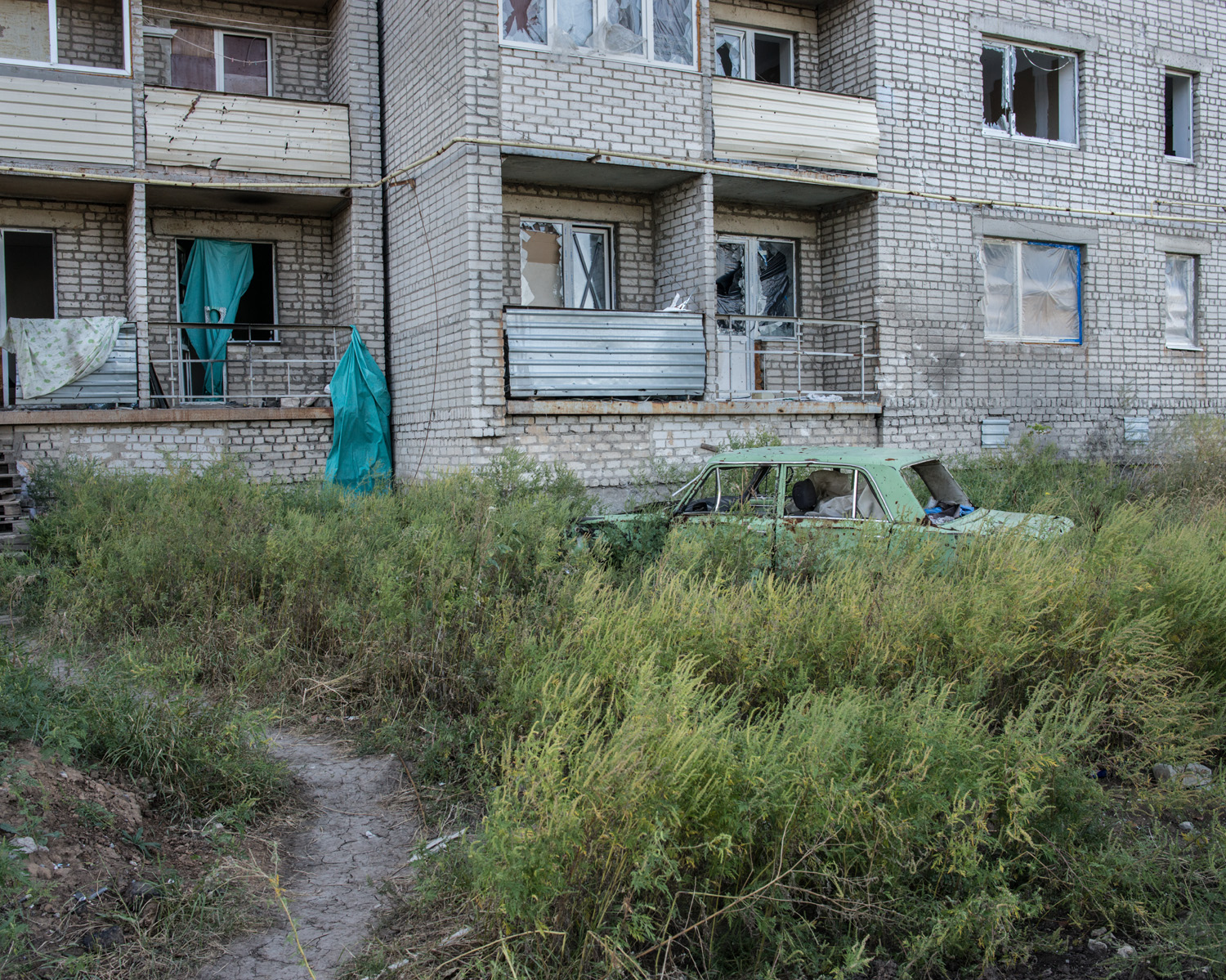 An apartment building in the town of Avdiivka. In mid-2014 Avdiivka was seized by separatists and subsequently reclaimed by Ukrainian forces.