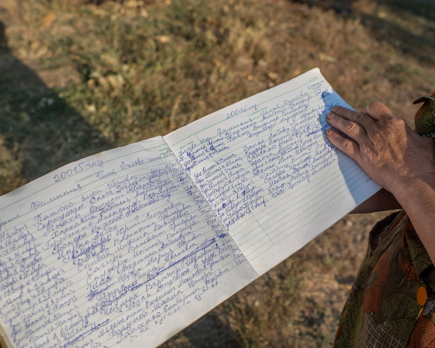 """I keep a list of everyone who dies every year in the village. Over the past year over a hundred have died from the war. They didn't build these houses why do they break them? Why do they shell into the village? We haven't taken anyone's money, we havern't committed any crime. We're always scared, to go to the bathroom even we're scared. People are dying for nothing. We live and await death."" -Vera, 70, Chermalyk."